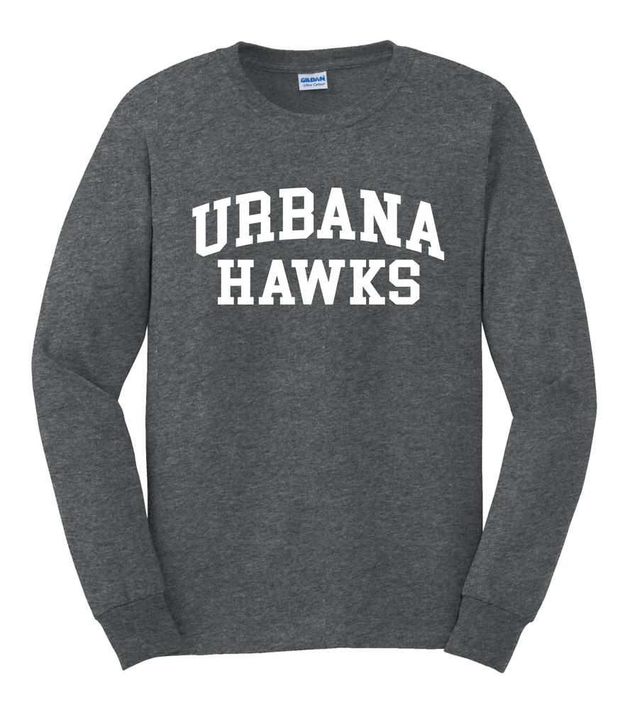 UHS Urbana Hawks T-shirt LONG SLEEVE Cotton Many Colors Available Sz S-3XL DK HEATHER