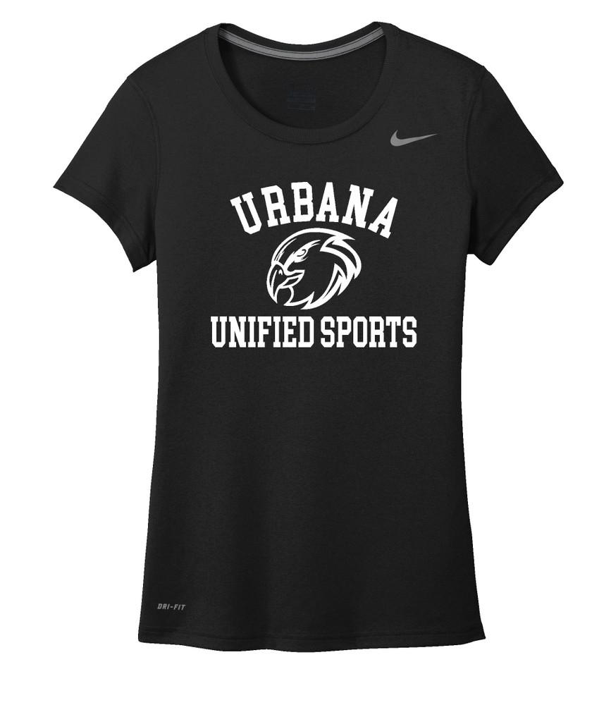 UHS Urbana Hawks UNIFIED SPORTS T-shirt NIKE Performance Dri-FIT LADIES Many Colors Available Sz S-2XL BLACK