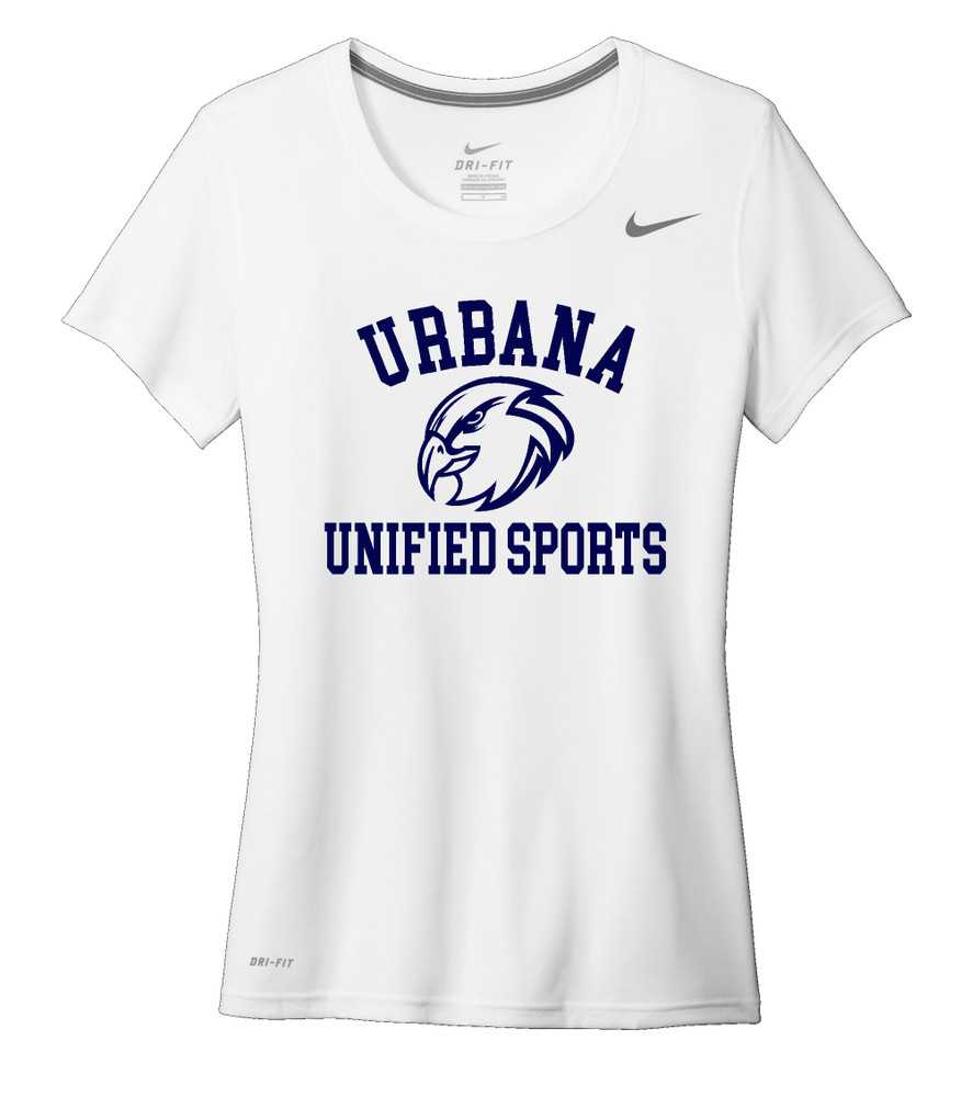 UHS Urbana Hawks UNIFIED SPORTS T-shirt NIKE Performance Dri-FIT LADIES Many Colors Available Sz S-2XL WHITE