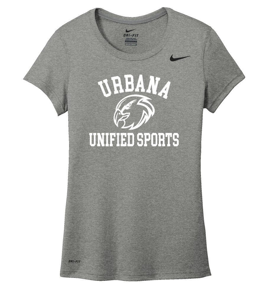 UHS Urbana Hawks UNIFIED SPORTS T-shirt NIKE Performance Dri-FIT LADIES Many Colors Available Sz S-2XL CARBON HEATHER