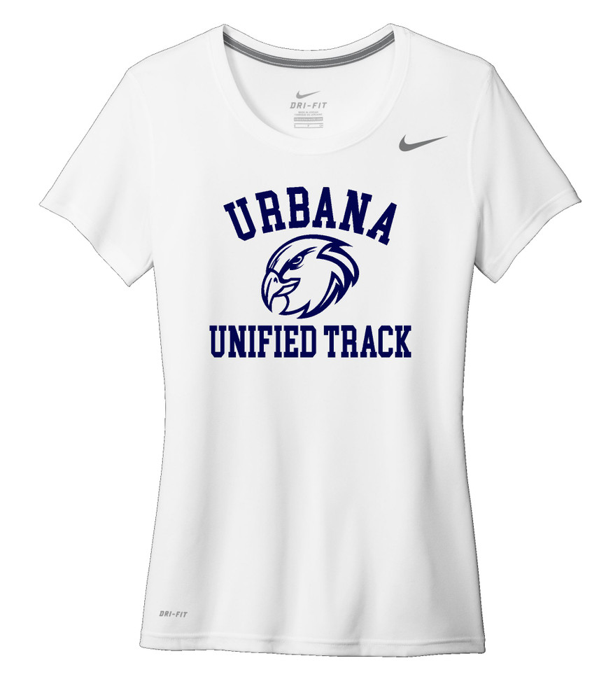 UHS Urbana Hawks UNIFIED TRACK T-shirt NIKE Performance Dri-FIT LADIES Many Colors Available Sz S-2XL WHITE