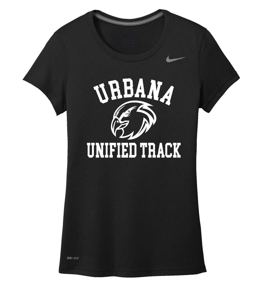 UHS Urbana Hawks UNIFIED TRACK T-shirt NIKE Performance Dri-FIT LADIES Many Colors Available Sz S-2XL BLACK