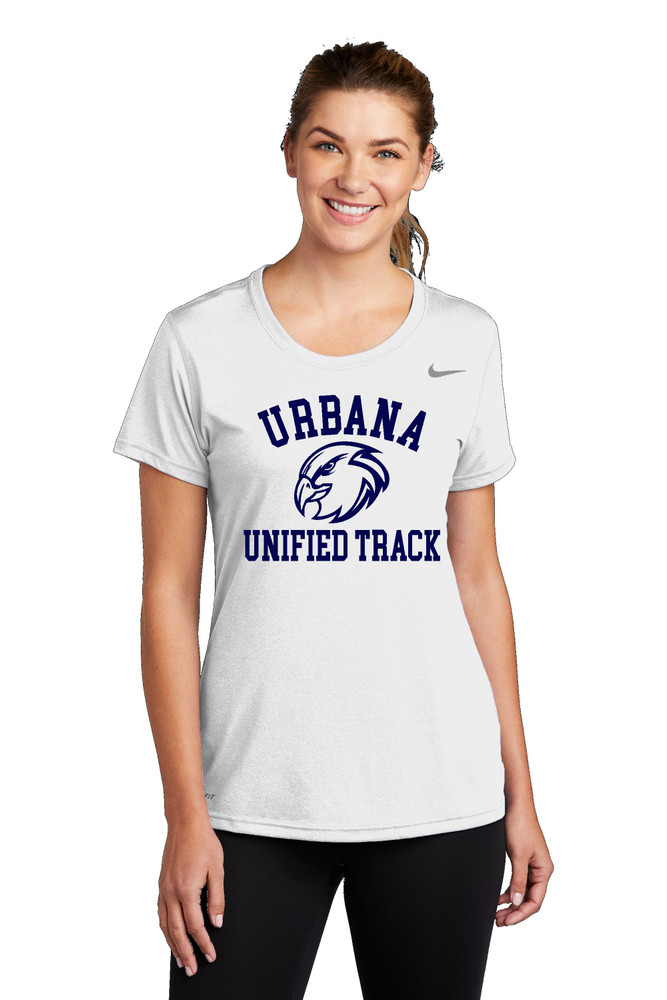 UHS Urbana Hawks UNIFIED TRACK T-shirt NIKE Performance Dri-FIT LADIES Many Colors Available Sz S-2XL WHITE MODEL