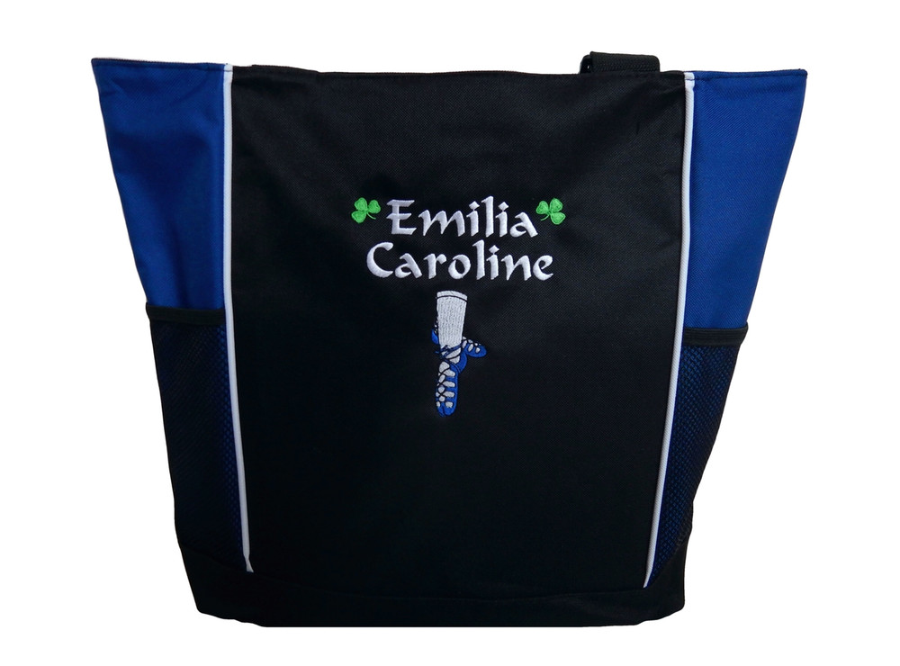 Ghillie Girl Shoes Shamrock Celtic Irish Jig Dance Ireland Reel Princess ROYAL BLUE Zippered Tote Bag Font Style CALLIGRAPHY