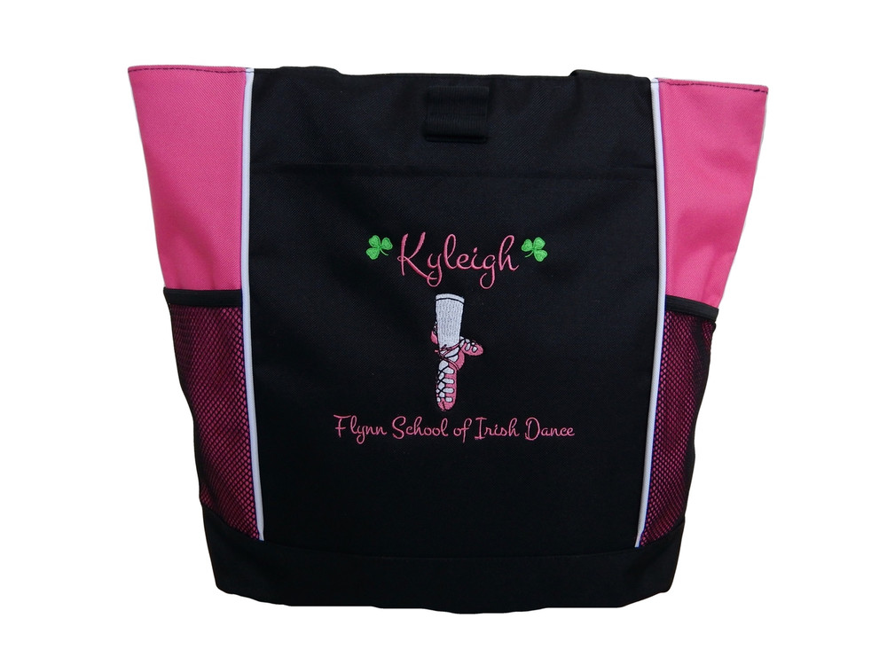 Ghillie Girl Shoes Shamrock Celtic Irish Jig Dance Ireland Reel Princess HOT TROPICAL PINK Zippered Tote Bag Font Style MONTE CARLO