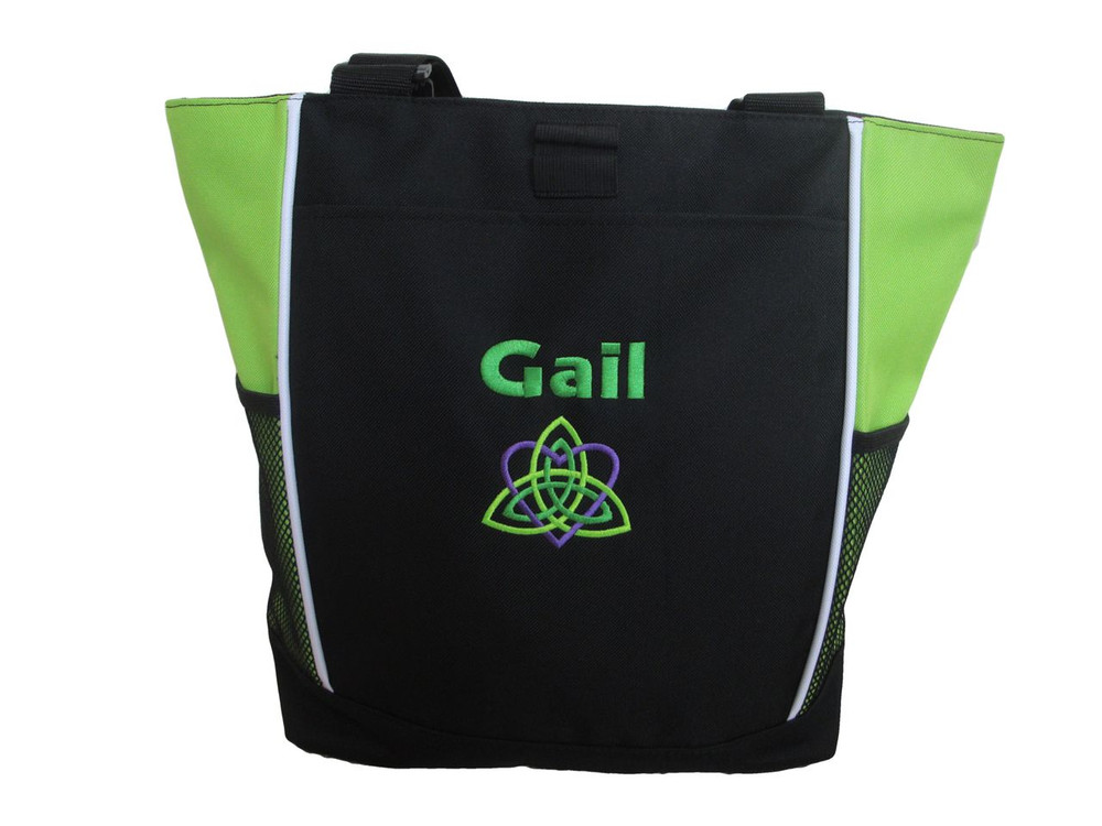 Celtic Trinity Heart Irish Ireland LIME Purple Kelly Green Custom Personalized Zippered Tote Bag Font Style GEOMETRIC