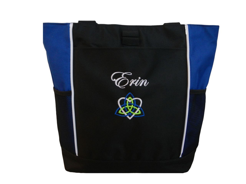 Celtic Trinity Heart Ireland ROYAL BLUE White Lime Green Custom Personalized Zippered Tote Bag Font Style EDWARDIAN SCRIPT