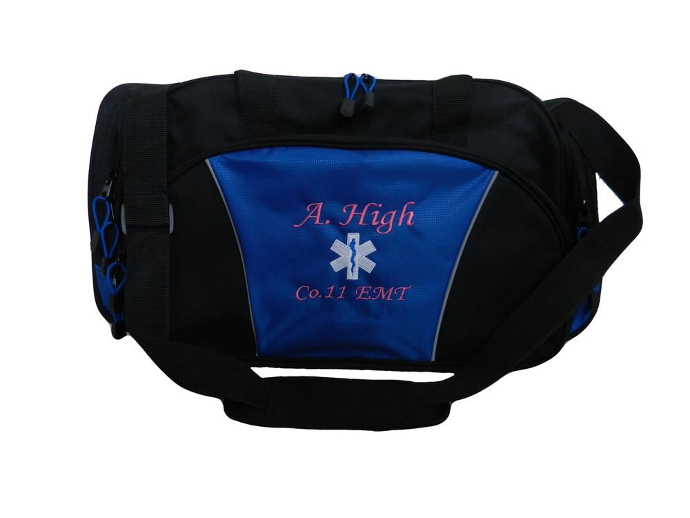 Star of Life ROYAL BLUE DUFFEL Ambulance First Responder EMT EMS Paramedic Medic RN Emergency Hospital Font Style MONO CORSIVA