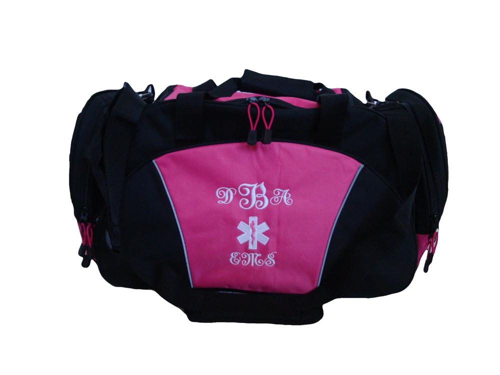 Star of Life HOT PINK DUFFEL LPN RN BSN Nurse First Responder EMT EMS Paramedic Medic RN Emergency Hospital Font Style ERICA