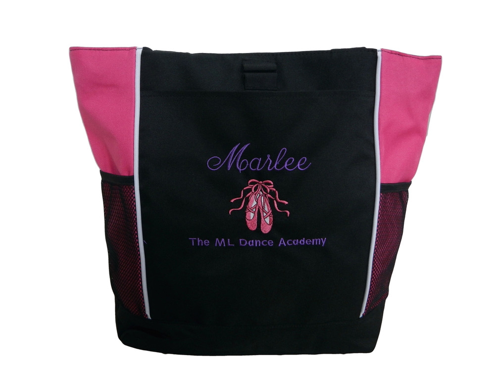 Ballet Shoes Ballerina Dancer HOT PINK Zippered Tote Bag Font Style ANNIVERSARY