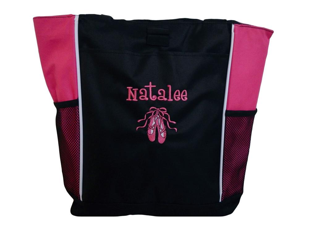 Ballet Shoes Ballerina Dancer HOT PINK Zippered Tote Bag Font Style GIRLZ