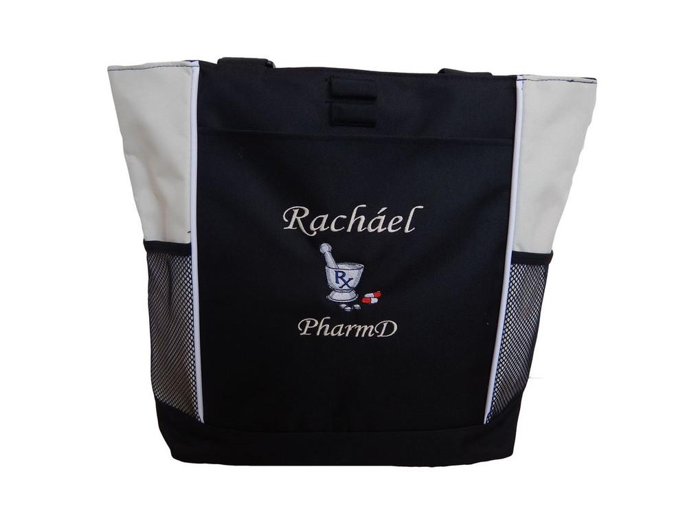 Pharmacist Pharmacy Pharm D RX Medical Student STONE Tote Bag Font Style MONO CORSIVA