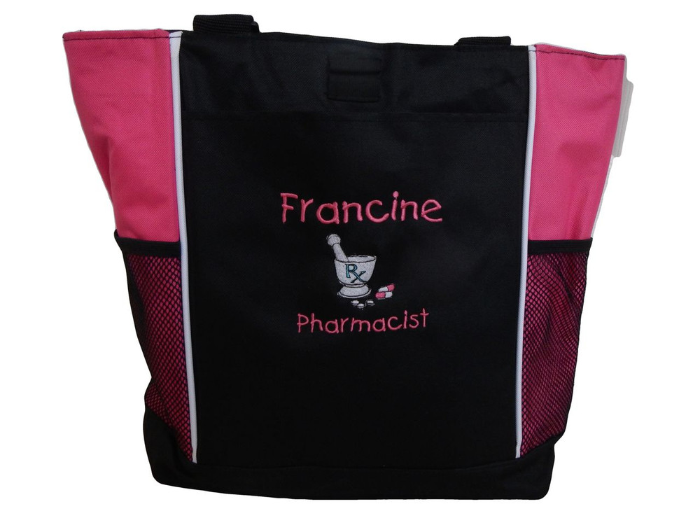Pharmacist Pharmacy Pharm D RX Medical Student HOT PINK Tote Bag Font Style CHILDS PLAY