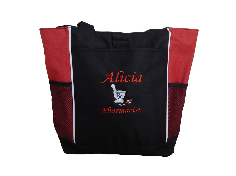 Pharmacist Pharmacy Pharm D RX Medical Student RED Tote Bag Font Style MONO CORSIVA