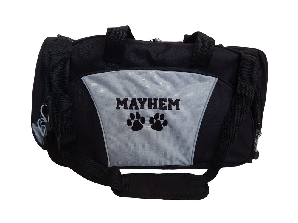 Paw Prints Vet Tech Personalized Embroidered GREY DUFFEL Font Style VARSITY