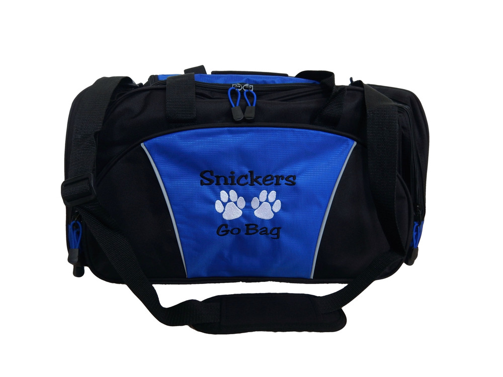 Paw Prints Vet Tech Personalized Embroidered ROYAL BLUE DUFFEL Font Style JESTER