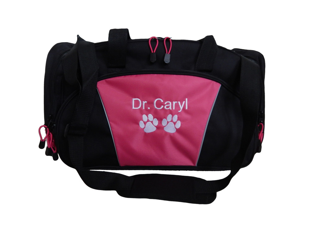 Paw Prints Medical Vet Doctor Tech RVT Personalized Embroidered HOT PINK DUFFEL Font Style ARIAL