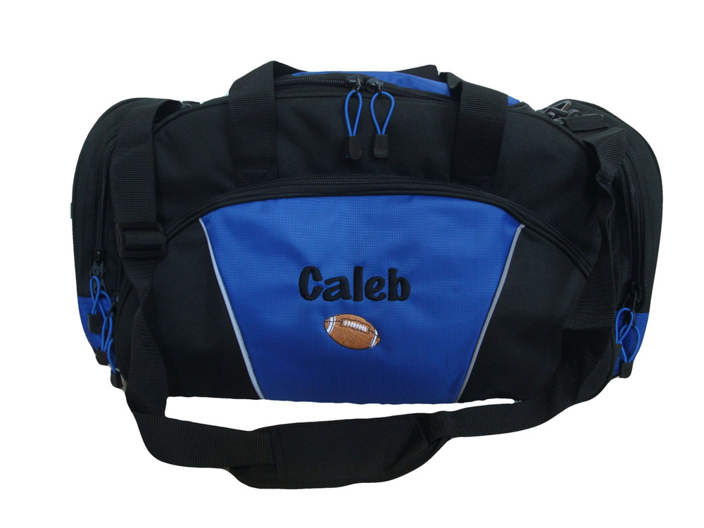 Football Coach Mom Team Personalized Embroidered ROYAL BLUE DUFFEL Font Style MARKER PEN