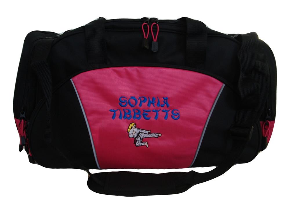 Karate Girl HOT PINK DUFFEL Tae Kwon Do Kung Fu Martial Arts Sensai Ultimate Fighting Sports Font Style BAMBOO