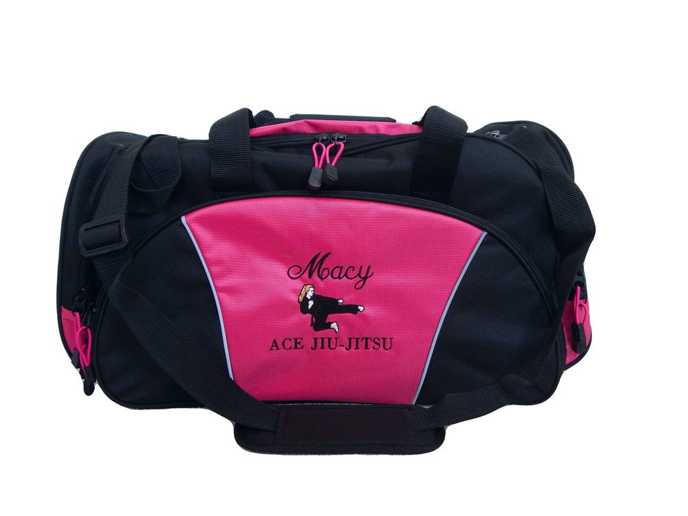 Karate Girl HOT PINK DUFFEL Tae Kwon Do Kung Fu Martial Arts Sensai Ultimate Fighting Sports Font Style ANNIVERSARY and BODINI