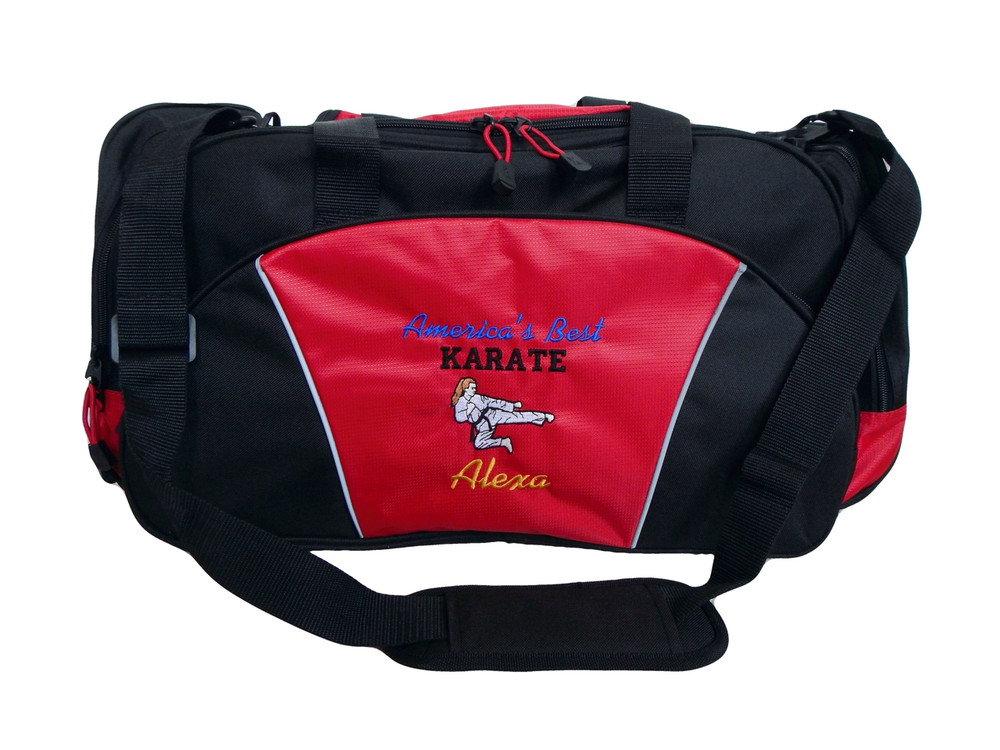 Karate Girl RED DUFFEL Tae Kwon Do Kung Fu Martial Arts Sensai Ultimate Fighting Sports Font Style ISLAND and VARSITY