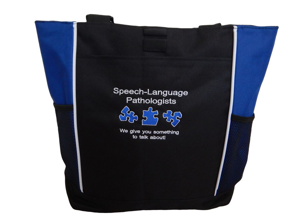 Speech Language Pathologist SLP Autism We Give You Something To Talk About Personalized Embroidered Zippered  ROYAL BLUE Tote Bag Font Style ARIAL