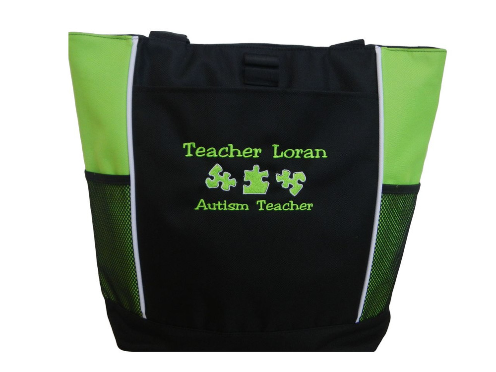 Autism Mom Grandma Advocate Teacher SLP Puzzle Pieces Personalized Embroidered Zippered  LIME GREEN Tote Bag Font Style JESTER