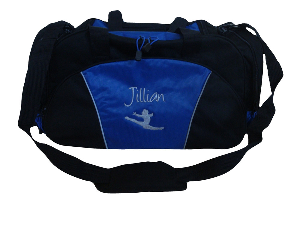 Gymnast Silhouette Leaping Gymnastics Dance Sports Personalized Embroidered ROYAL DUFFEL Font Style CHILDS PLAY
