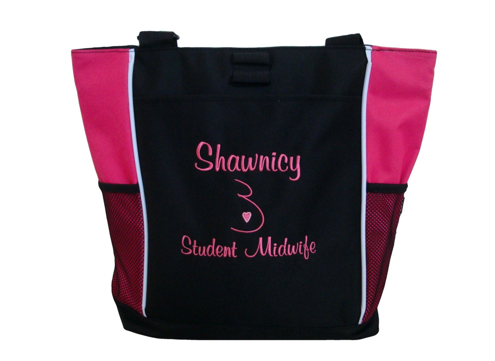 Doula Belly Heart Nurse Nursing Mother Baby RN BSN CCE CLC Student Midwife Personalized Embroidered Zippered TROPICAL HOT PINK Tote Bag Font Style CASUAL SCRIPT