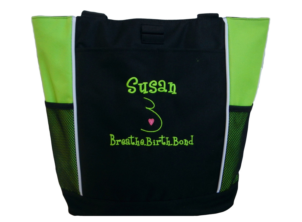 Doula Services Belly Heart Nurse Nursing Mother Baby Breathe Birth Bond Student Midwife Personalized Embroidered Zippered LIME GREEN Tote Bag Font Style GIRLZ