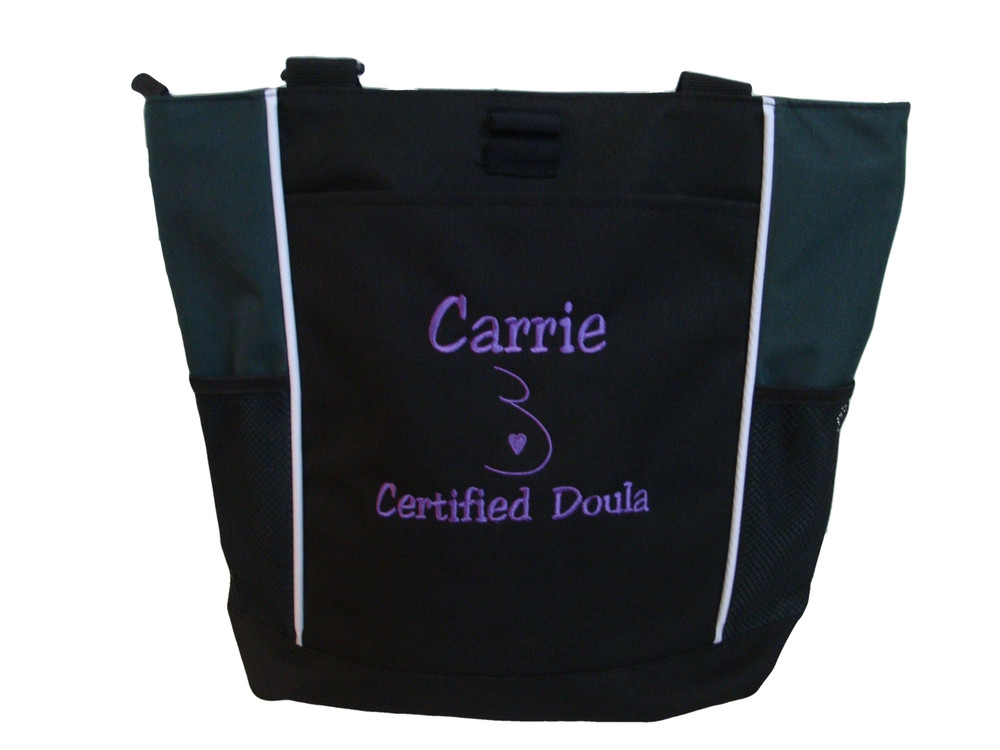 Doula Belly Heart Certified Nurse Nursing Mother Baby RN BSN CCE Midwife Personalized Embroidered Zippered HUNTER GREEN Tote Bag Font Style JESTER