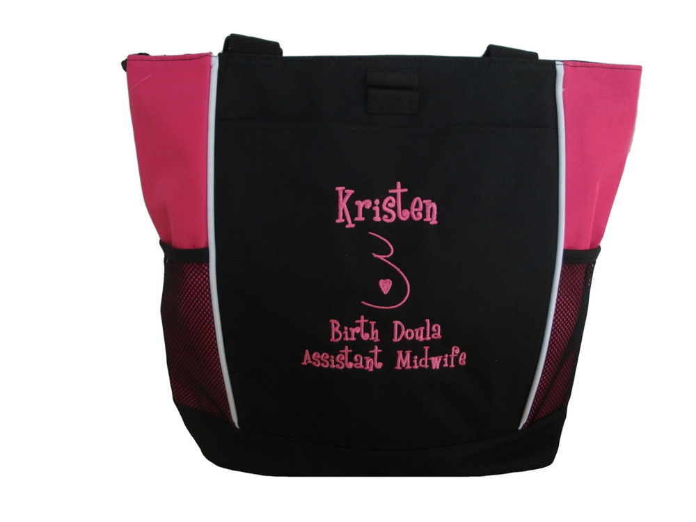 Doula Belly Heart Nurse Nursing Mother Baby Rn Birth Assistant Student Midwife Personalized Embroidered Zippered TROPICAL HOT PINK Tote Bag Font Style GIRLZ
