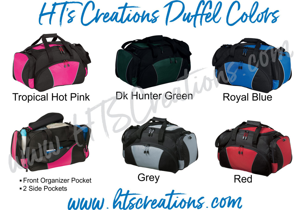 HT's Creations Custom Monogrammed Personalized Zippered DUFFEL BAG COLORS Tropical Hot Pink, Dark Hunter Green, Royal Blue, Grey and Red