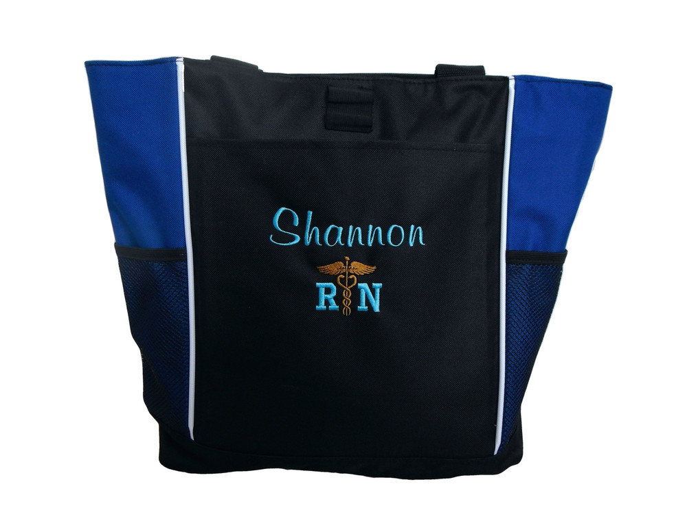 Caduceus Nurse Nursing RN CNA LPN BSN OT PT Personalized Embroidered Zippered ROYAL BLUE Tote Bag Font Style CASUAL SCRIPT