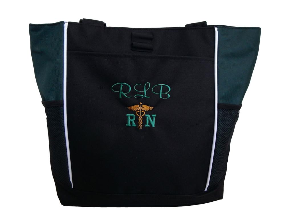 Caduceus Nurse Nursing RN CNA LPN BSN LVN OT PT FNP ER NICU Student Personalized Embroidered Zippered Tote Bag