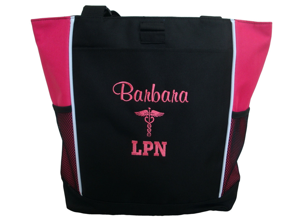 Caduceus Nurse Nursing RN CNA LPN BSN OT PT Personalized Embroidered Zippered TROPICAL HOT PINK Tote Bag Font Style CASUAL SCRIPT