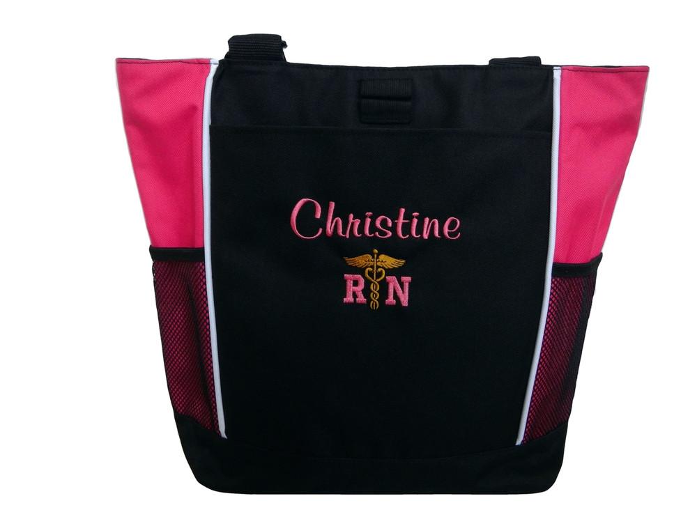 Caduceus Nurse Nursing RN CNA LPN BSN LVN OT PT FNP ER NICU Student Personalized HOT PINK Embroidered Zippered Tote Bag Font Style CASUAL SCRIPT
