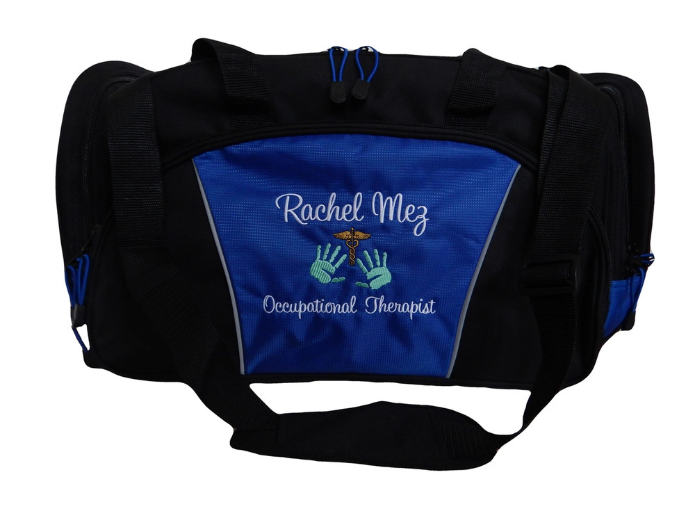 Caduceus Handprint Occupational Therapy Therapist OT RN Personalized Embroidered ROYAL BLUE Duffel Font Style SWEETHEART