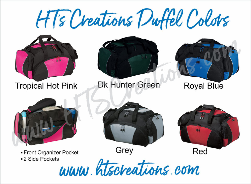 HT's Creations Custom Monogrammed Personalized Zippered DUFFEL BAG COLORS Hot Pink Hunter Green Royal Blue Grey Red