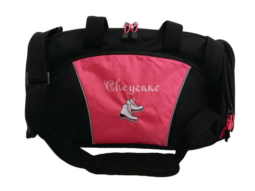 Ice Skates Figure Skating Dance Personalized Embroidered RED DUFFEL Font Style ERICA