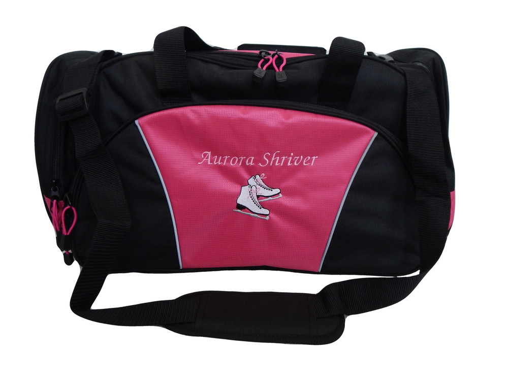 Ice Skates Figure Skating Dance Personalized Embroidered TROPICAL HOT PINK DUFFEL Font Style FRENCH SCRIPT
