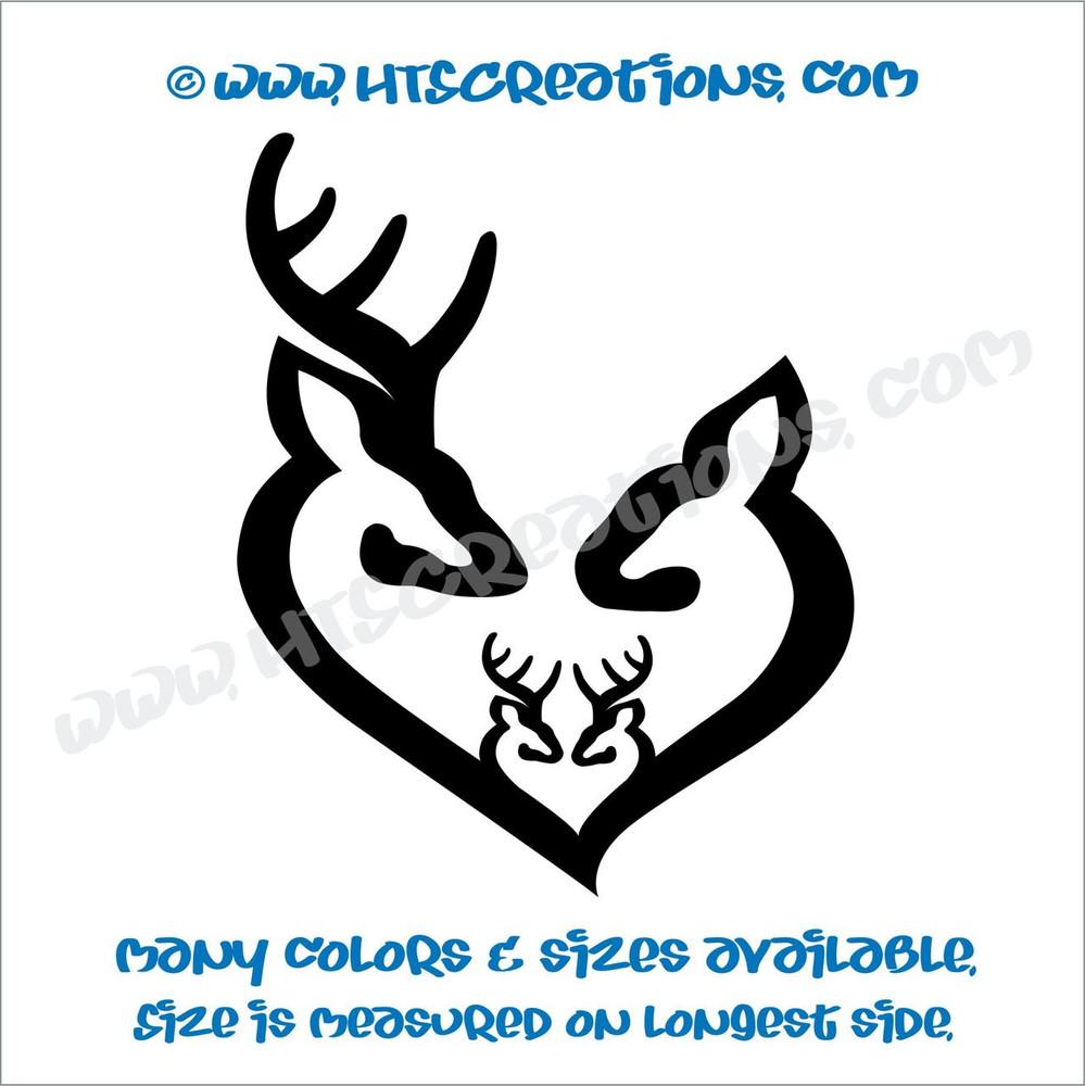 Deer Doe Family Hunting Buck Elk Mom Dad 2 Kids Love Vinyl Car Truck Boat Decal Sticker BLACK