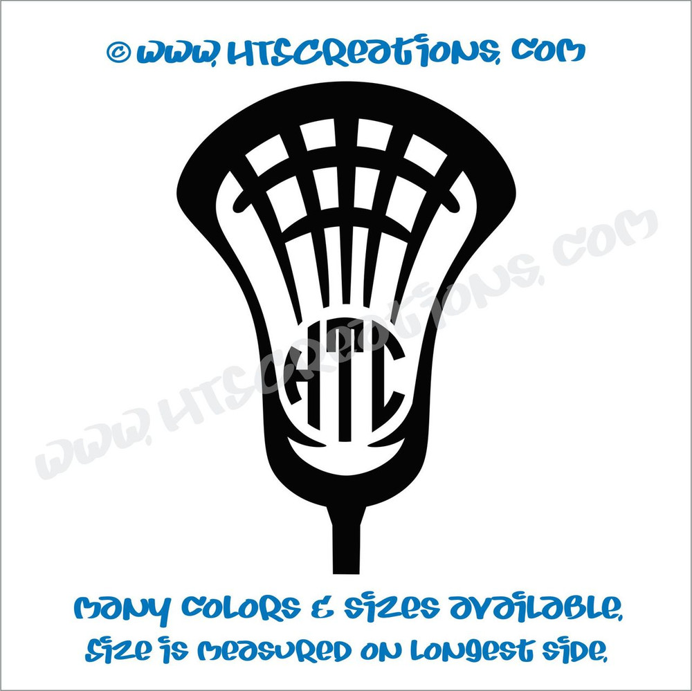 LAX Lacrosse Stick 3 Letter Monogram Head Ball Car Truck Boat Vinyl Decal BLACK