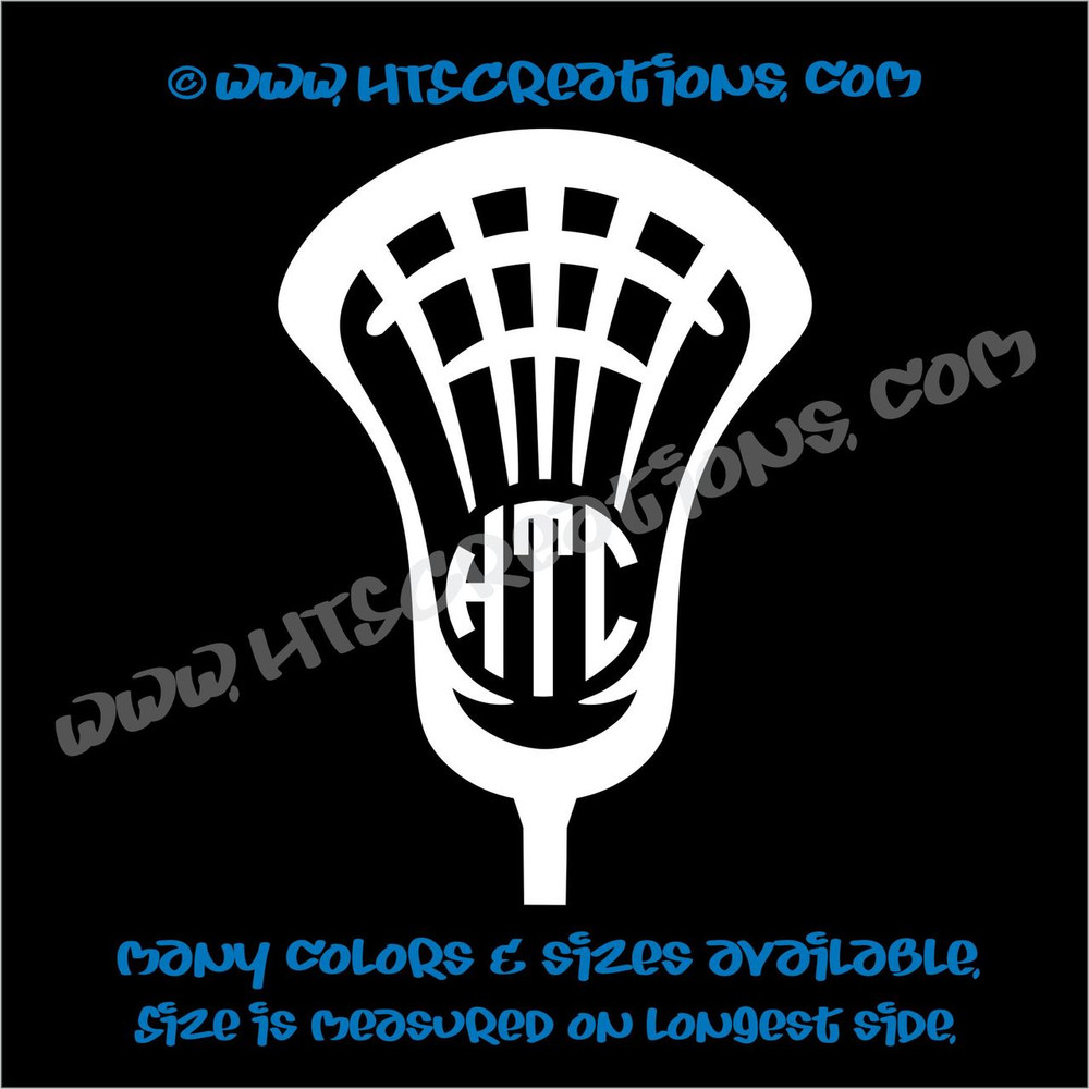 LAX Lacrosse Stick 3 Letter Monogram Head Ball Car Truck Boat Vinyl Decal WHITE