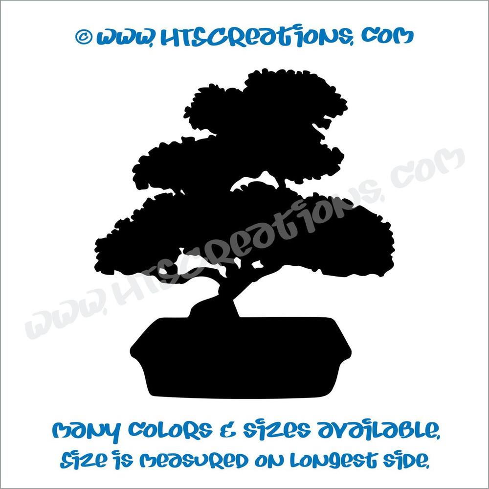 Bonsai Japanese Japan Tree Nature Plant  Car Truck Laptop Wall Vinyl Decal BLACK