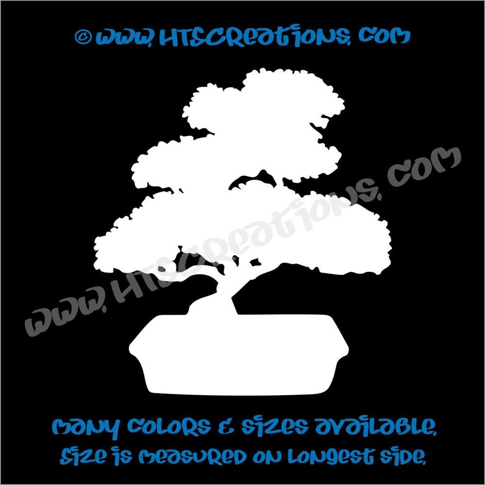Bonsai Japanese Japan Tree Nature Plant  Car Truck Laptop Wall Vinyl Decal WHITE