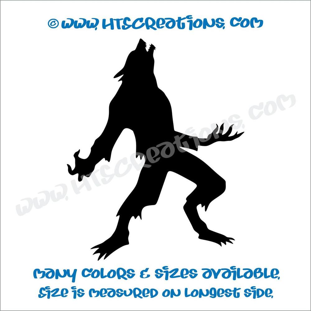 Werewolf Wolfman Folklore Dog Witch Hunt Vinyl Decal Truck Laptop Wall Tablet Vinyl Decal BLACK