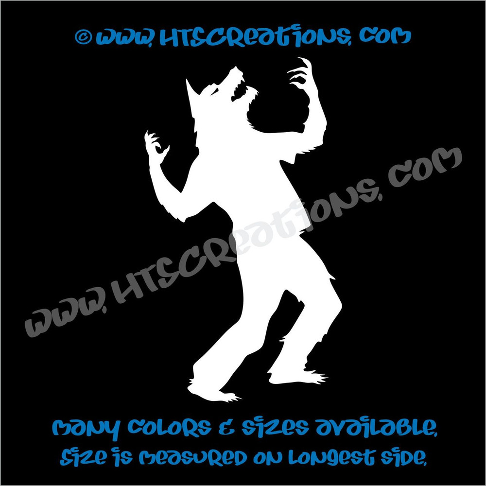 Werewolf Wolfman Howling Folklore Dog Witch Vinyl Decal Truck Laptop Wall Tablet Vinyl Decal WHITE