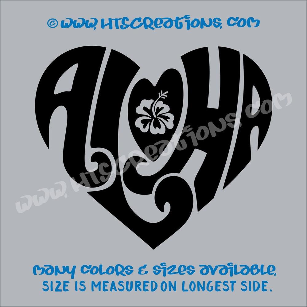 Aloha Heart Hawaii Hawaiian Floral Hibiscus Vinyl Decal Laptop Car Door Mirror Truck Vanity BLACK