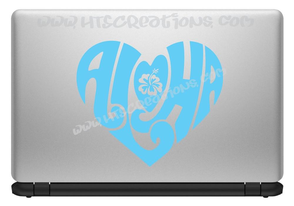 Aloha Heart Hawaii Hawaiian Floral Hibiscus Vinyl Decal Laptop Car Door Mirror Truck Vanity ICE BLUE